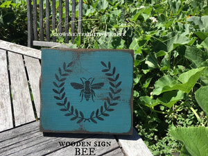 Wooden Sign- Bee in Blue