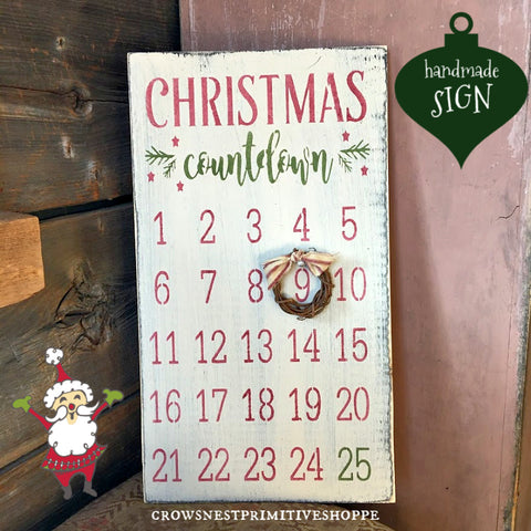 Wooden Sign- Christmas Count Down