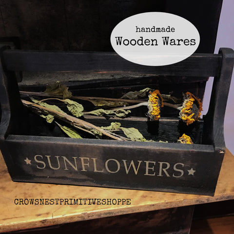 Wooden Tote - Sunflower