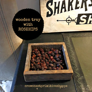 Wooden Tray with Rosehips