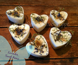 Scented Lavender Soy Chunky Heart Tart Set of 6
