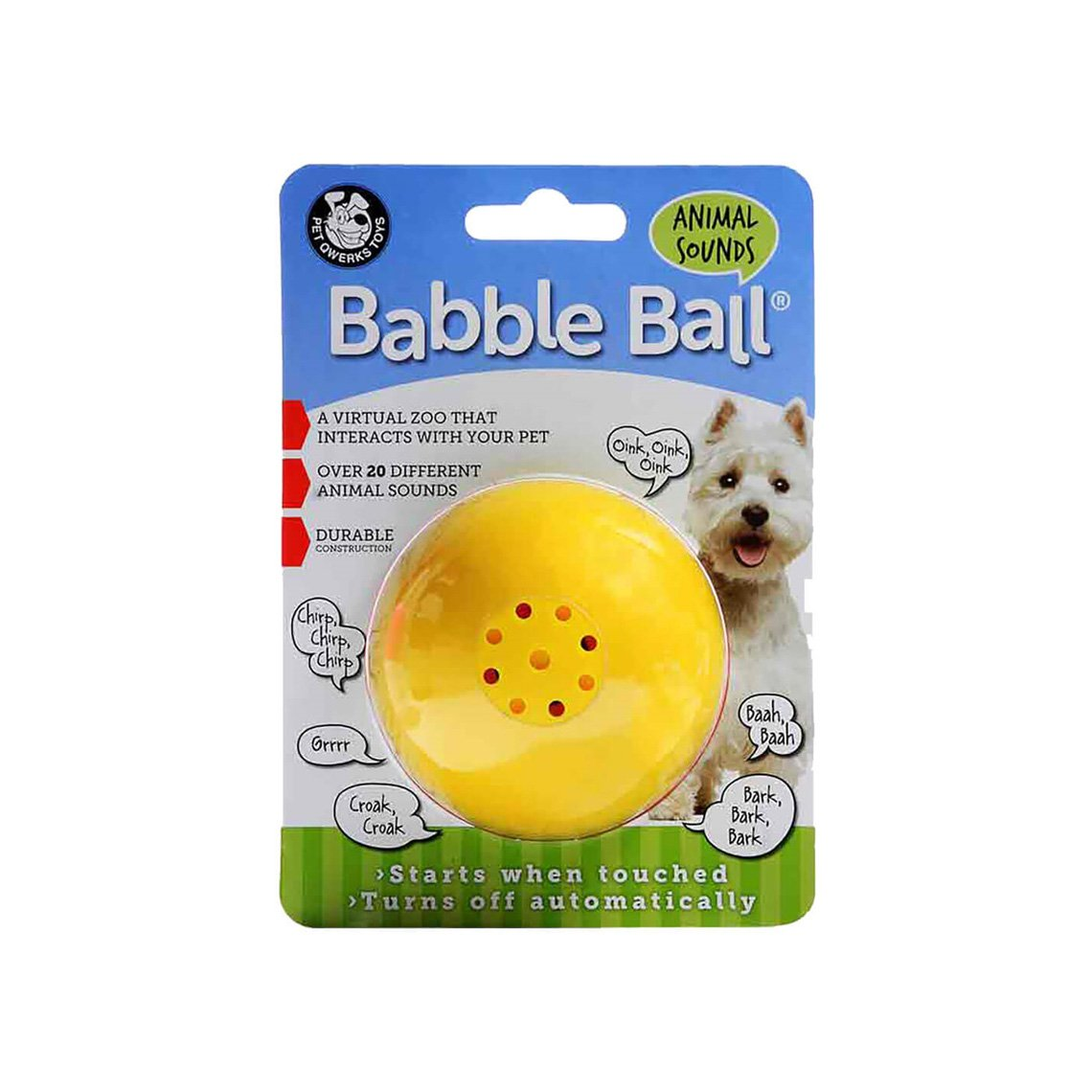 Wisecracks and Makes Funny Sounds When Touched Pet Qwerks Talking Babble Ball Interactive Dog Toy