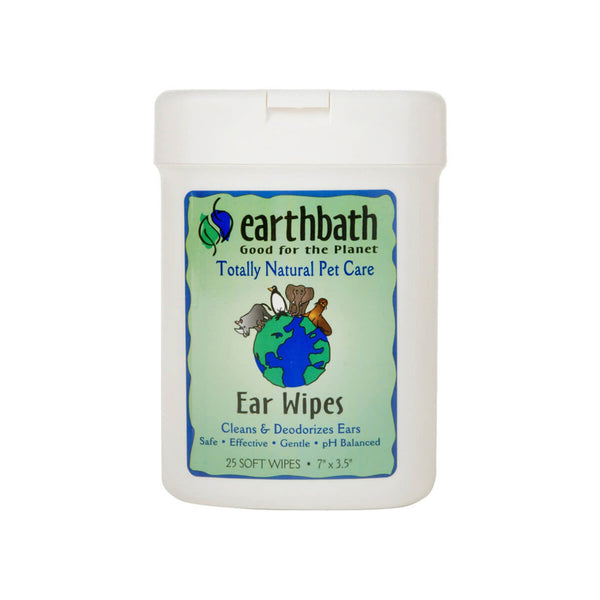 Earthbath Totally Natural Pet Care Clean & Deodorize Ear Wipes for Dogs & Cats