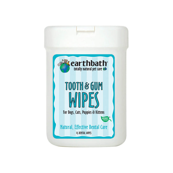 Earthbath Totally Natural Pet Care Tooth & Gum Dental Care Wipes for Dogs and Cats