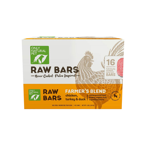 Only Natural Pet Raw Bars Grain Free Frozen Dog Food Patties