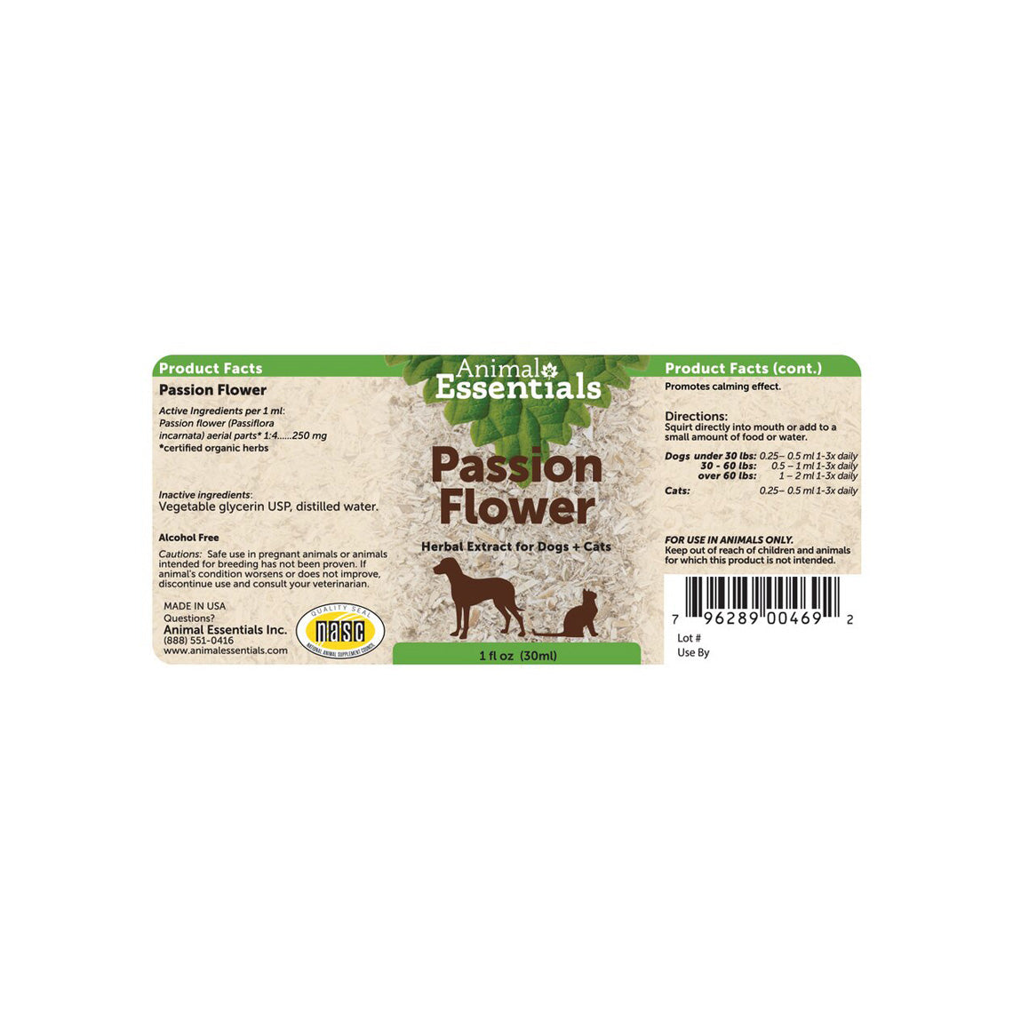 Animal Essentials Passion Flower For Dogs Cats Only Natural Pet