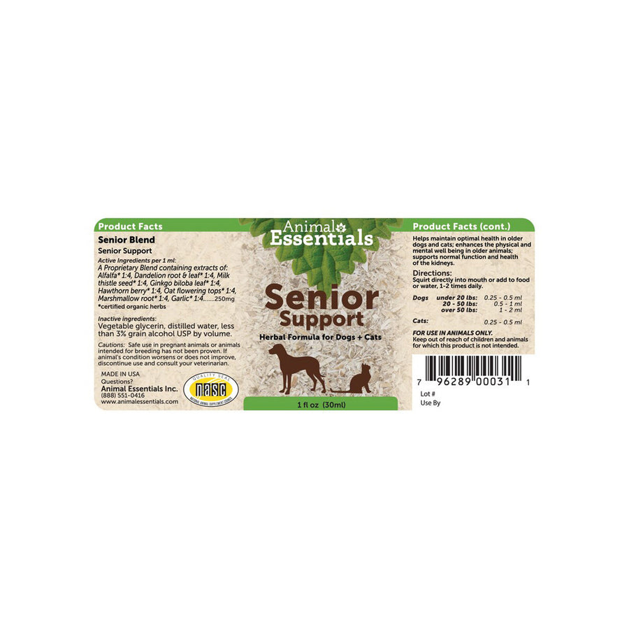Animal Essentials Senior Support Label