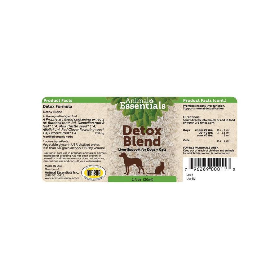 Animal Essentials Detox Blend Label