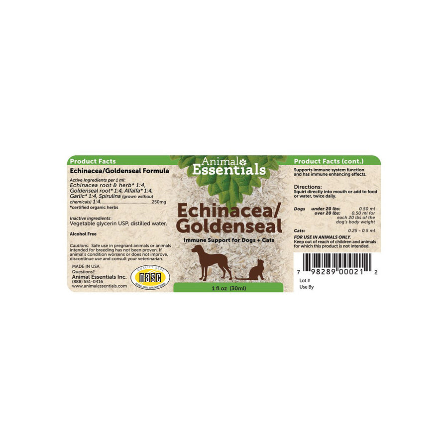 Animal Essentials Echinacea/Goldenseal Label