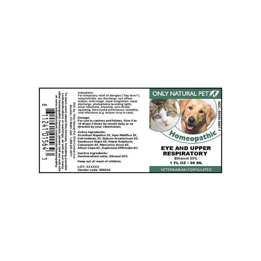 Only Natural Pet Eye & Upper Respiratory Homeopathic Remedy for Dogs & Cats