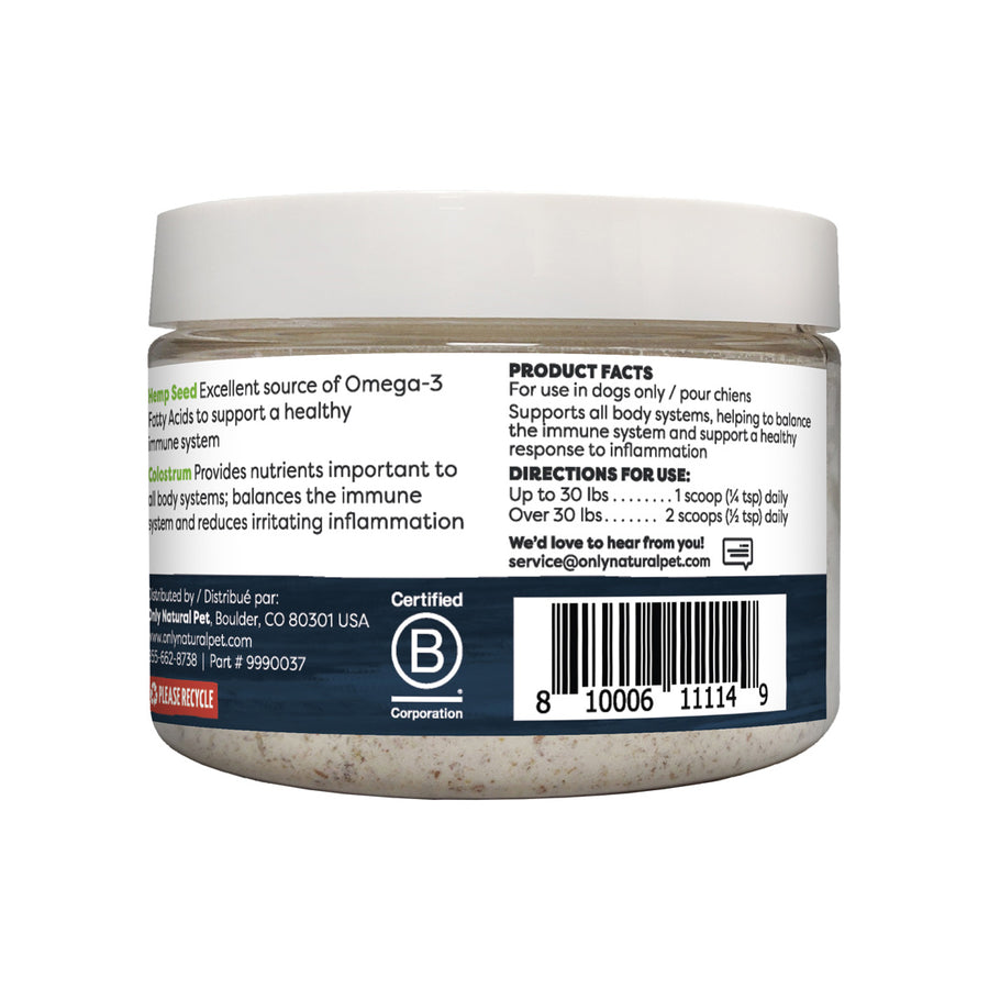 Only Natural Pet Hemp + Colostrum Powder 3.5 oz Jar Product Facts
