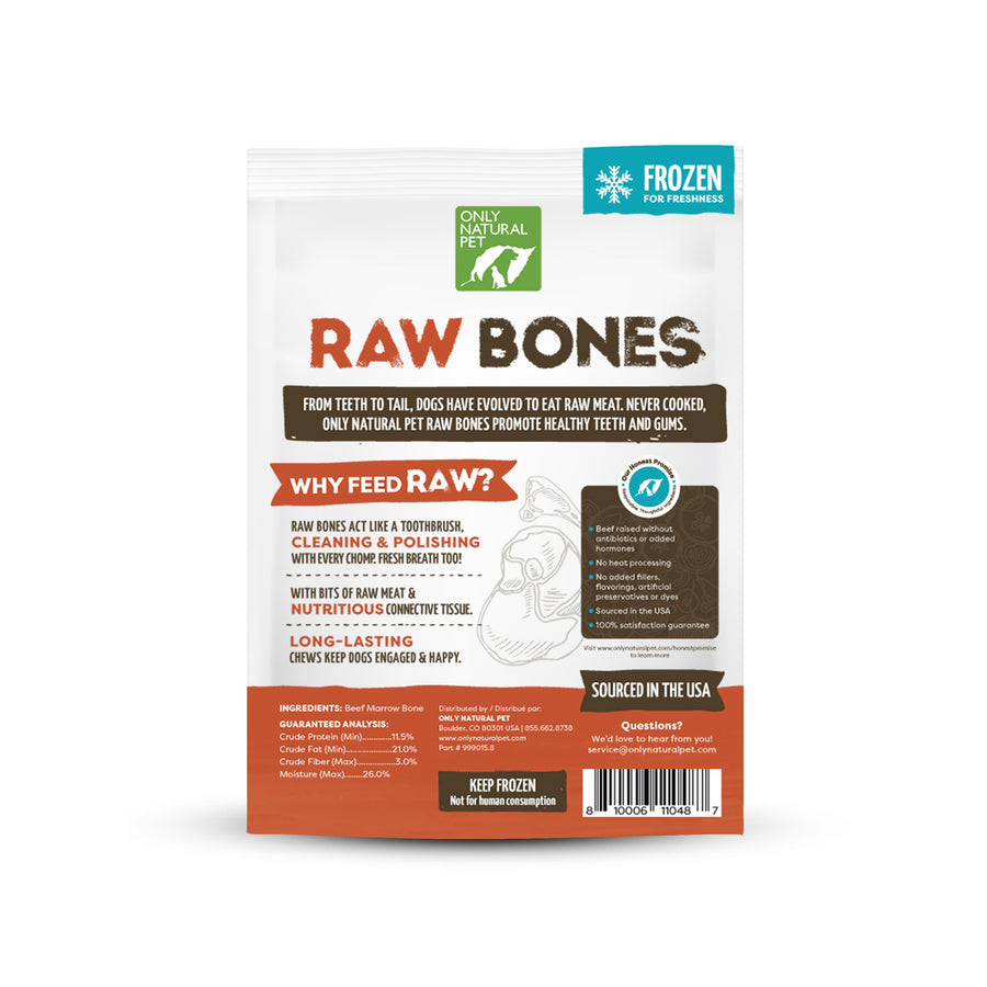 Only Natural Pet Frozen Raw Beef Marrow Bones for Dogs & Cat
