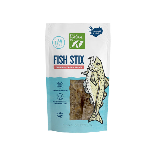 Only Natural Pet Fish Stix Crunchy Cod Skin Wild Caught Single Ingredient Dog Treats
