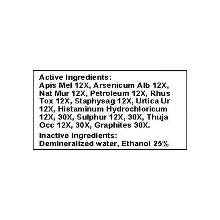 Only Natural Pet Skin & Itch Homeopathic Ingredients