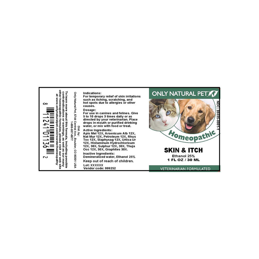 Only Natural Pet Skin & Itch Homeopathic Label