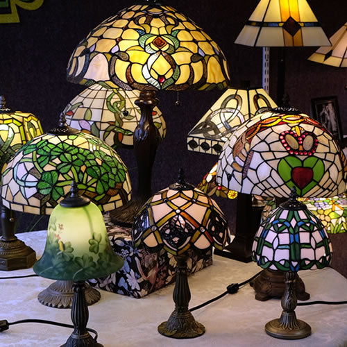 Irish Stained Glass Tiffany Table Lamps From Memory Lane Lamps