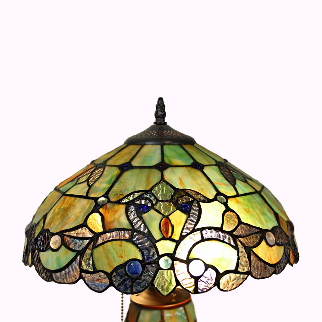 Double Lit Amber/Green Baroque Tiffany Table Lamp