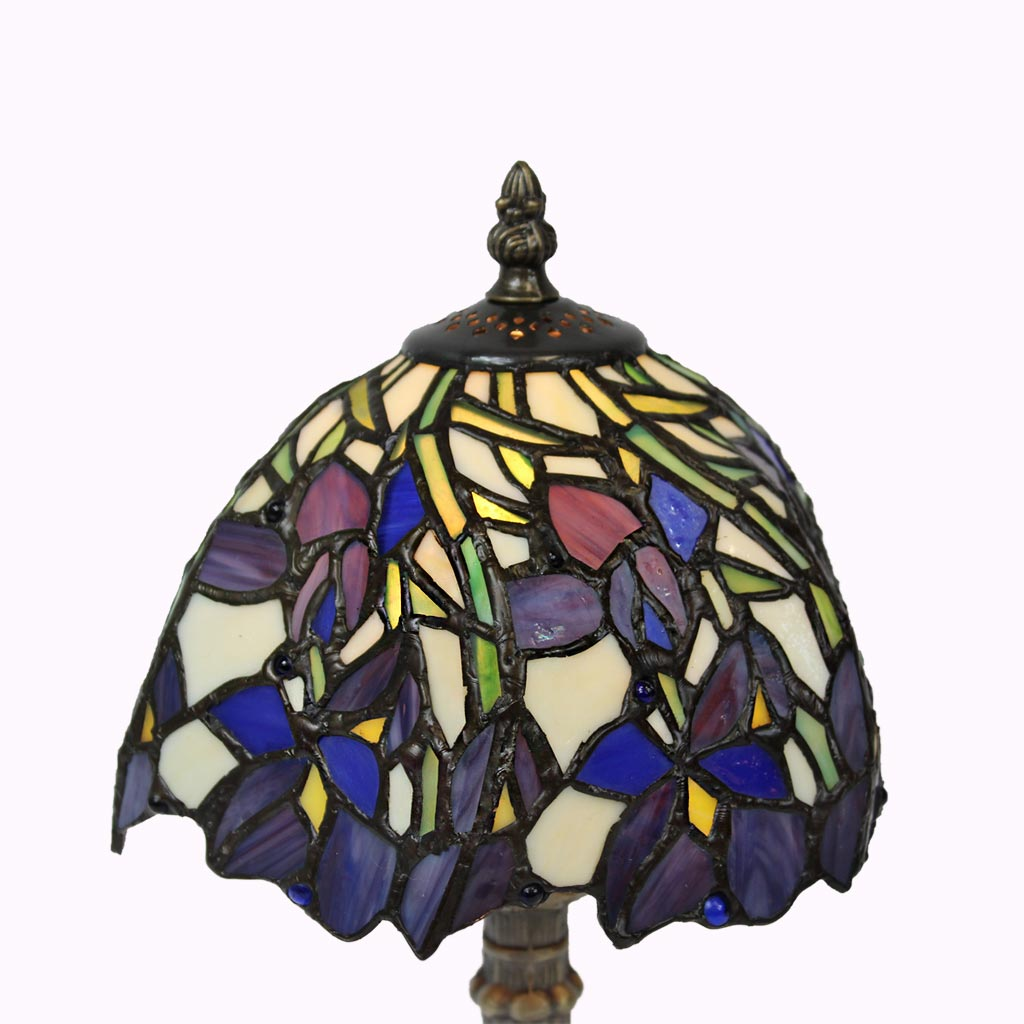 Blue Flower Swirl Tiffany Table Lamp
