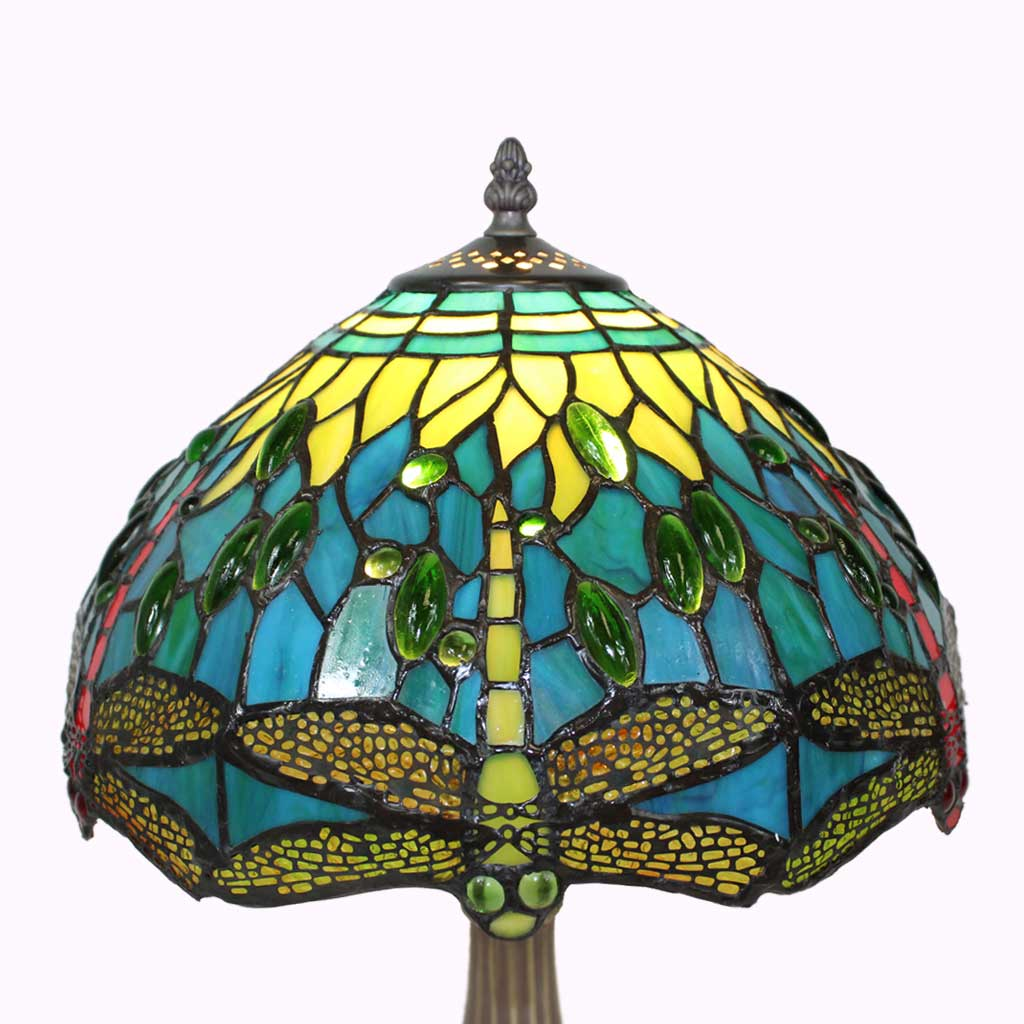 Tiffany Style Lamp Shade - Blue-Green Dragonflies Tiffany Table Lamp