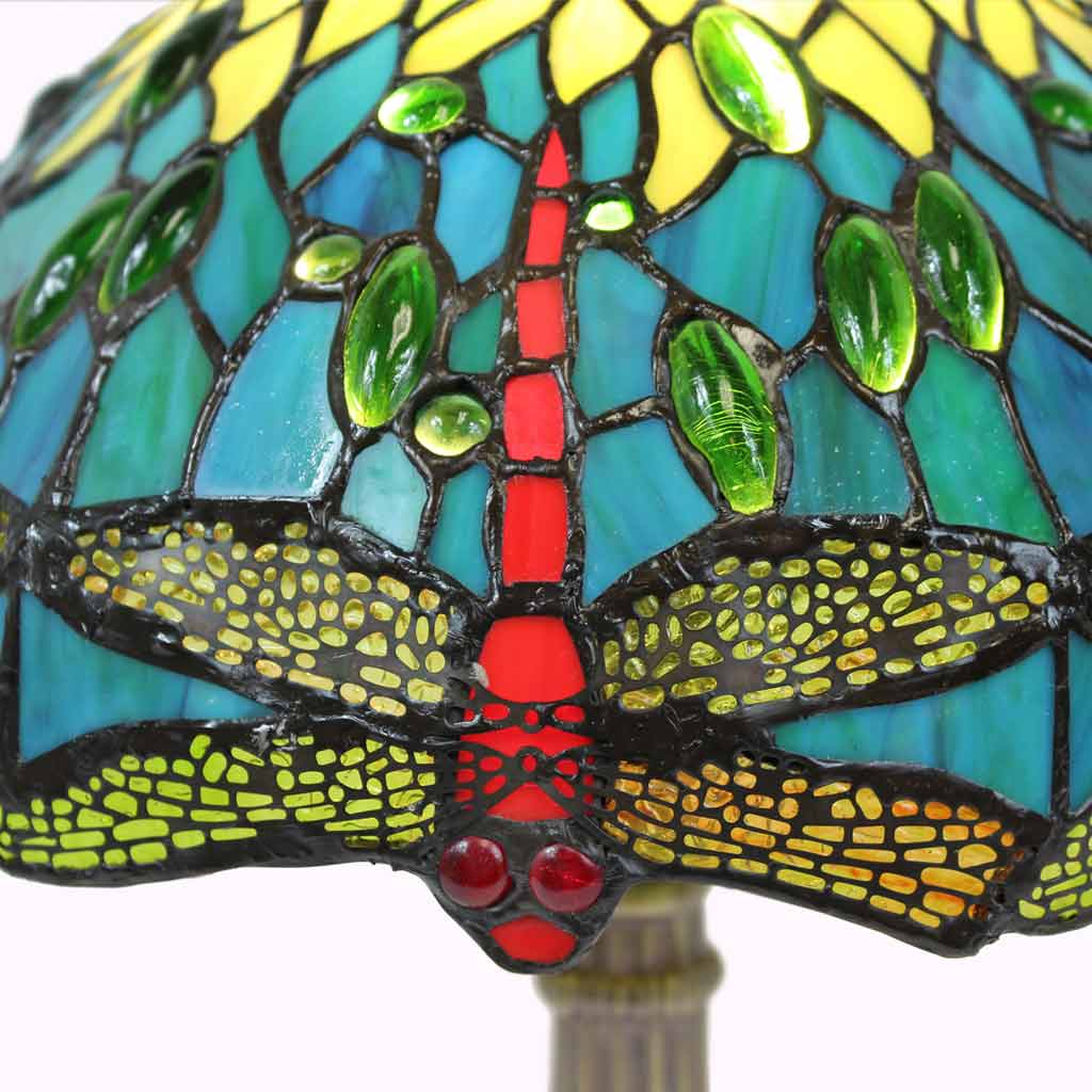 Blue-Green Dragonflies Tiffany Table Lamp from Memory Lane Lamps