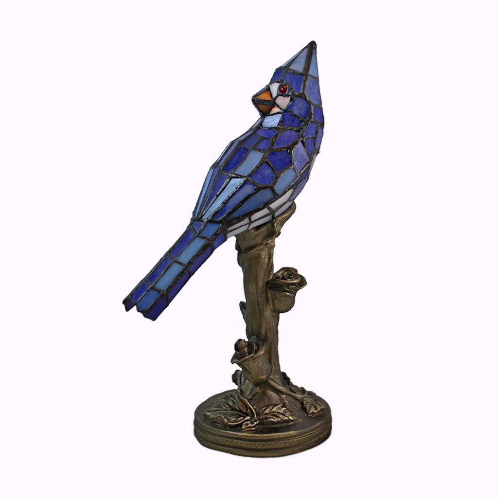 Blue Cardinal Sculptured Bronze Accent Lamp