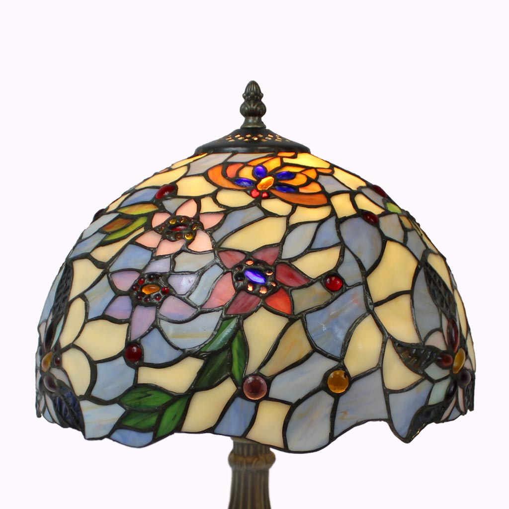 Blueberry Blossoms Tiffany Table Lamp from Memory Lane Lamps