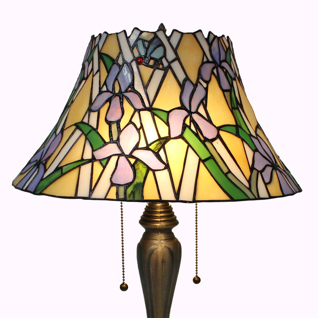 Bumble Bees Among the Irises Tiffany Table Lamp