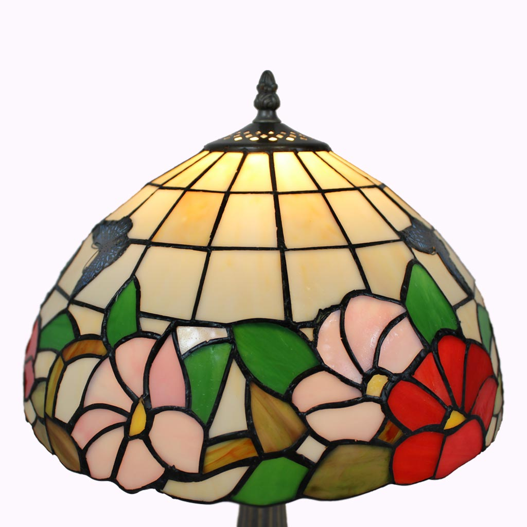 Tiffany Style Lamp Shade | Butterflies in the Sunlight Tiffany Table Lamp