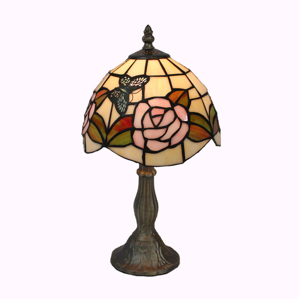 Butterflies on Pink Roses Tiffany Accent Lamp