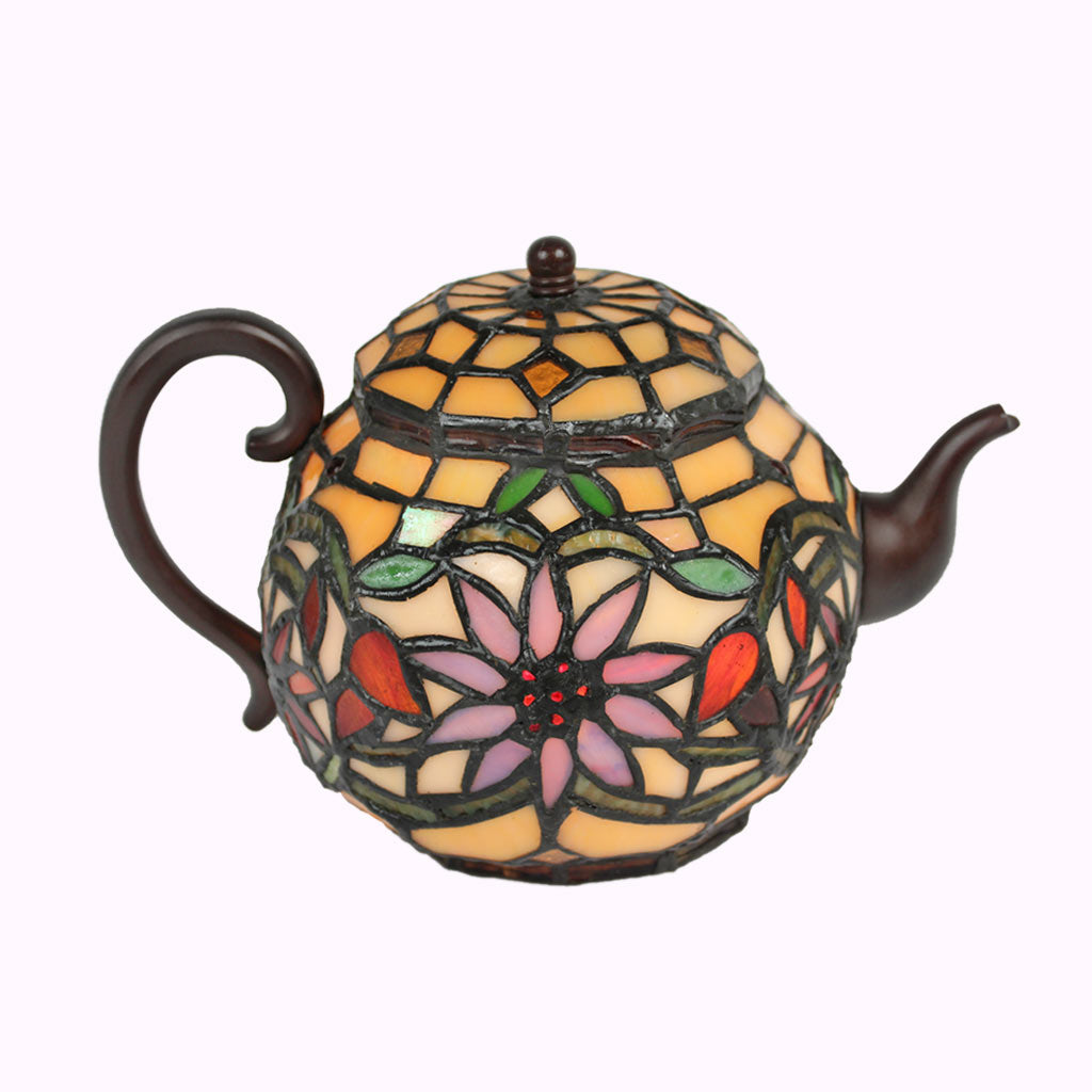 Charming Teapot Sculptured Bronze Tiffany Lamp