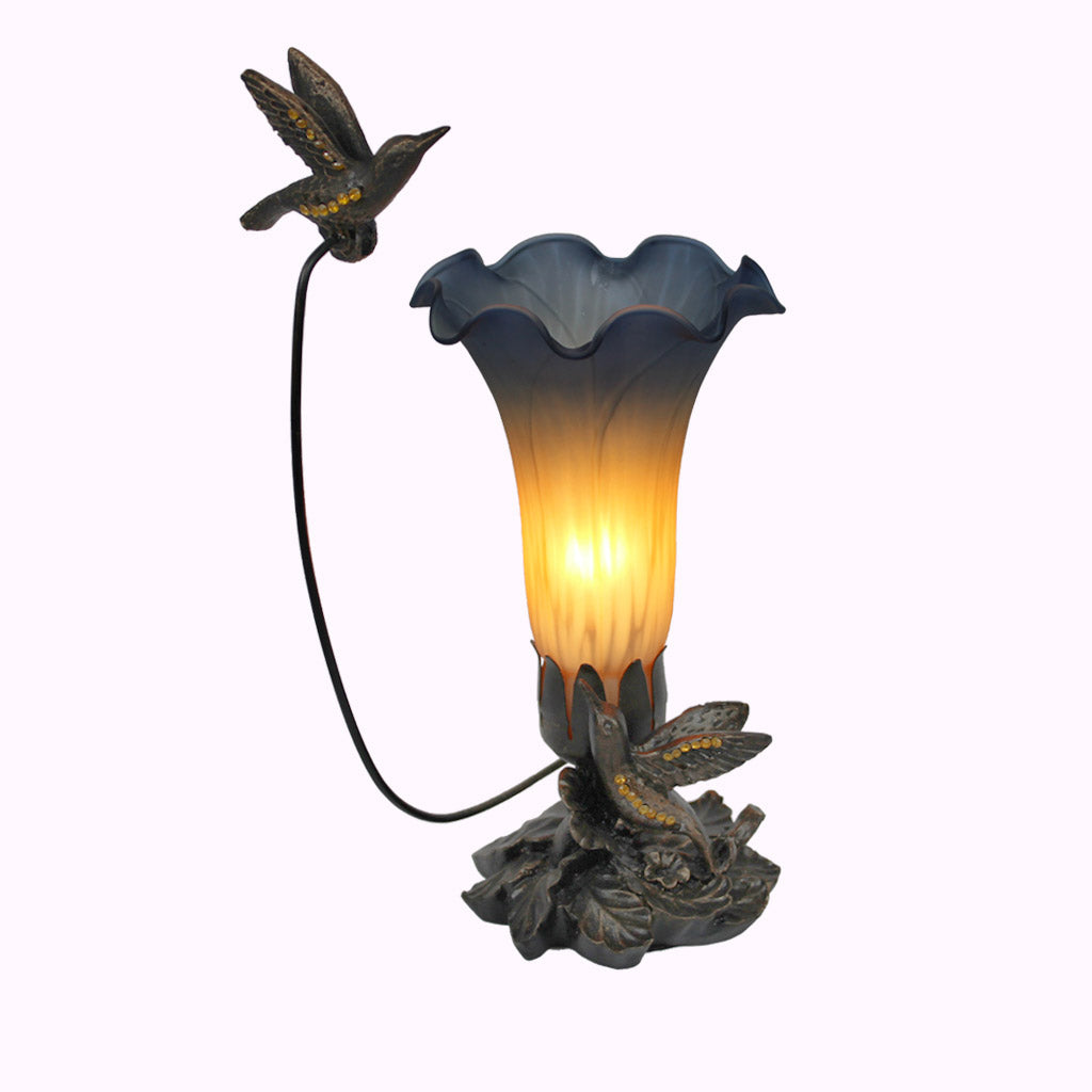 Double Hummingbird Sculptured Bronze Lamp
