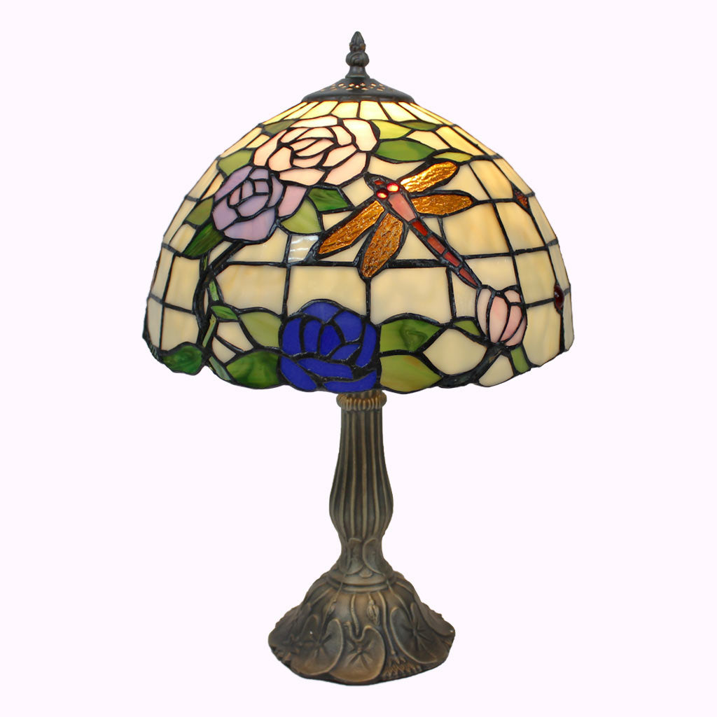 Dragonflies and Roses Tiffany Table Lamp