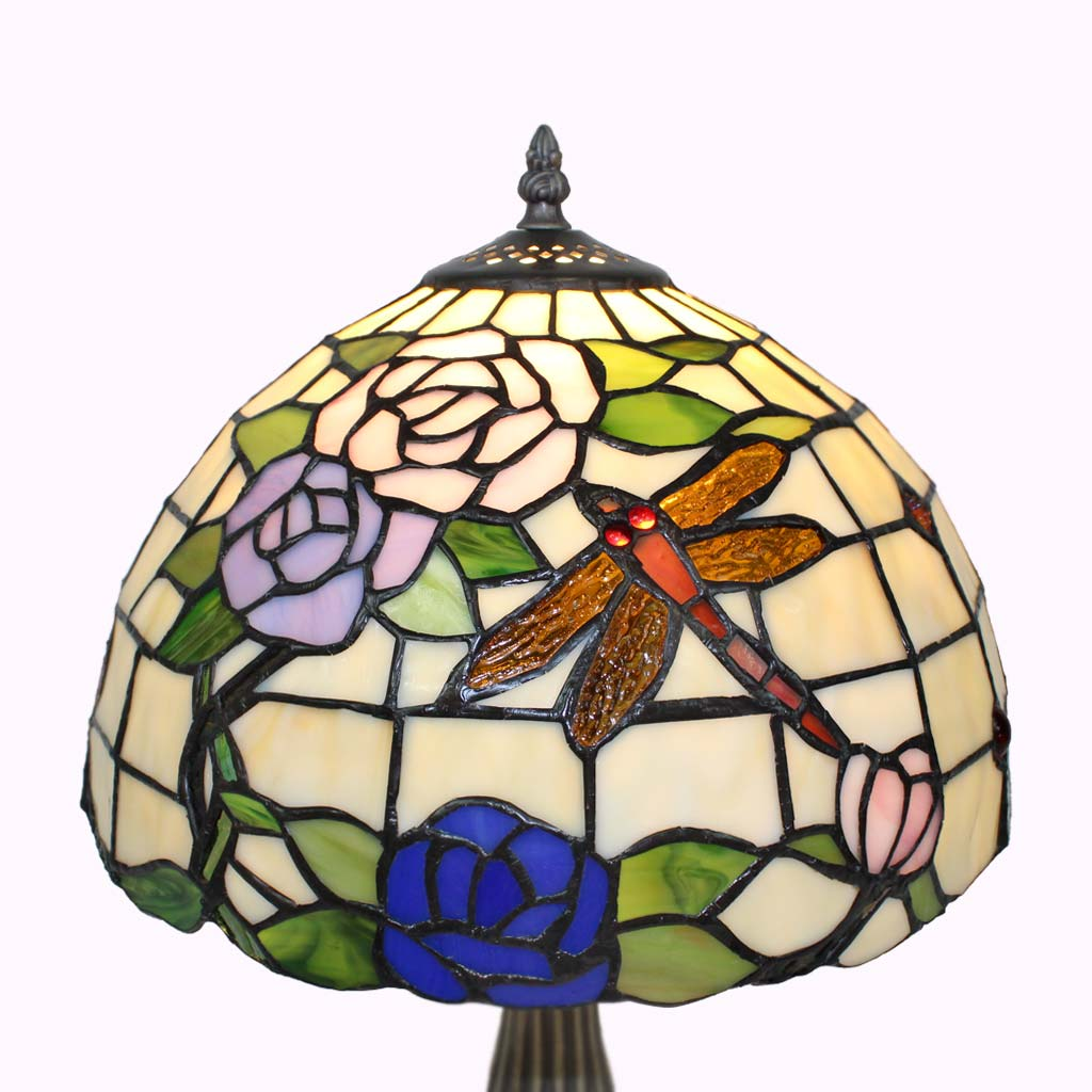 Tiffany Style Lamp Shades | Dragonflies and Roses Tiffany Table Lamp