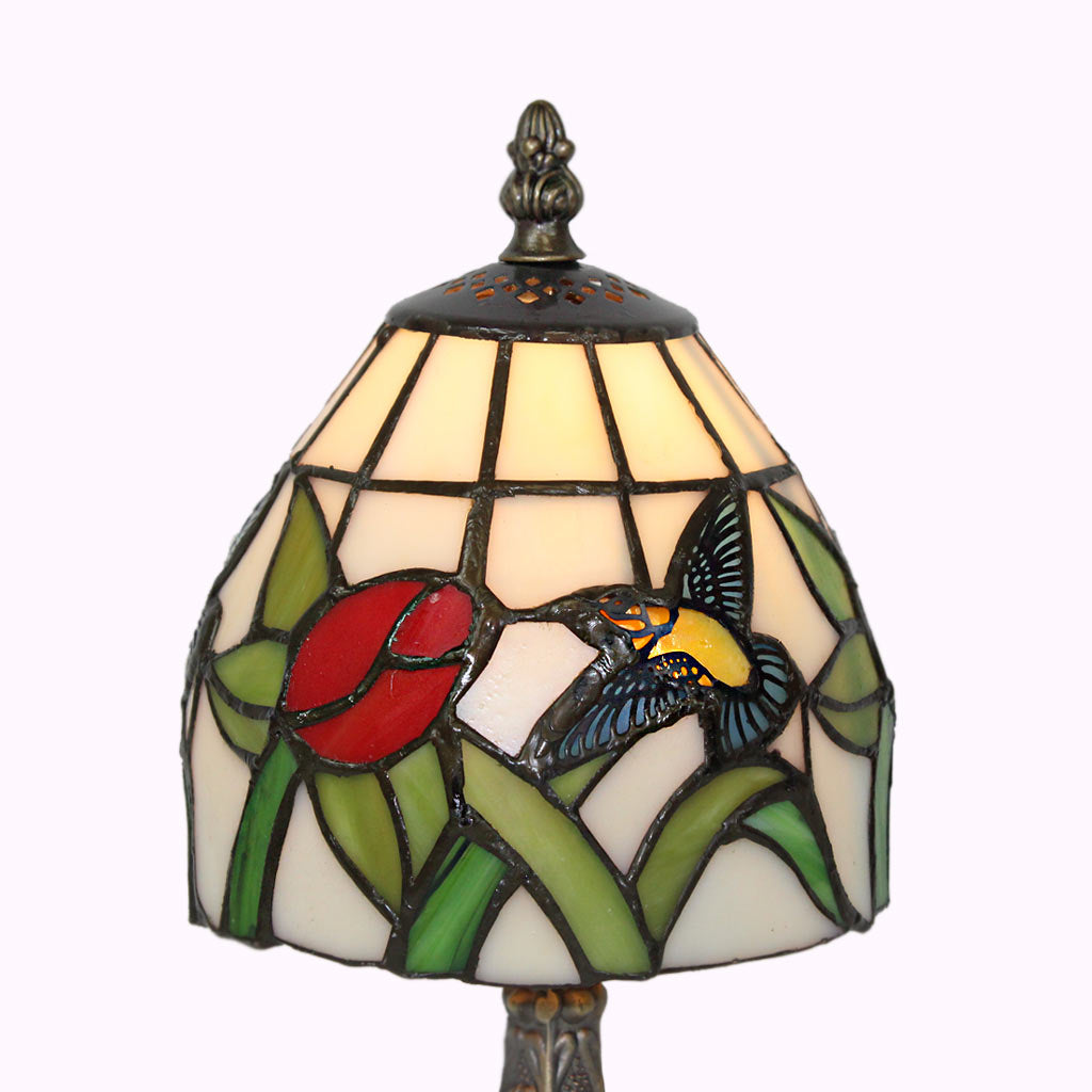 Hummingbird and Red Rose Tiffany Accent Lamp