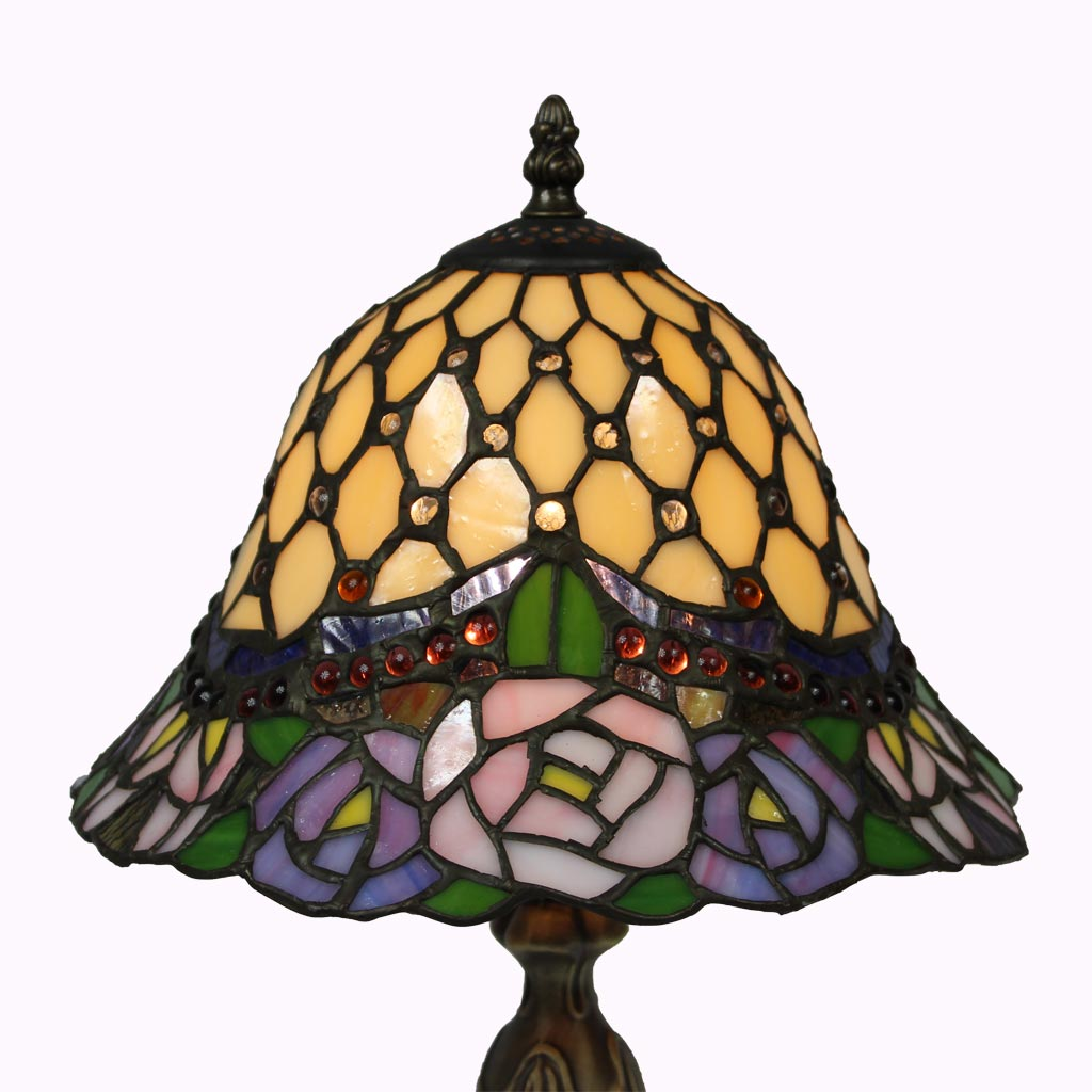 Jeweled Bell and Roses Tiffany Table Lamp