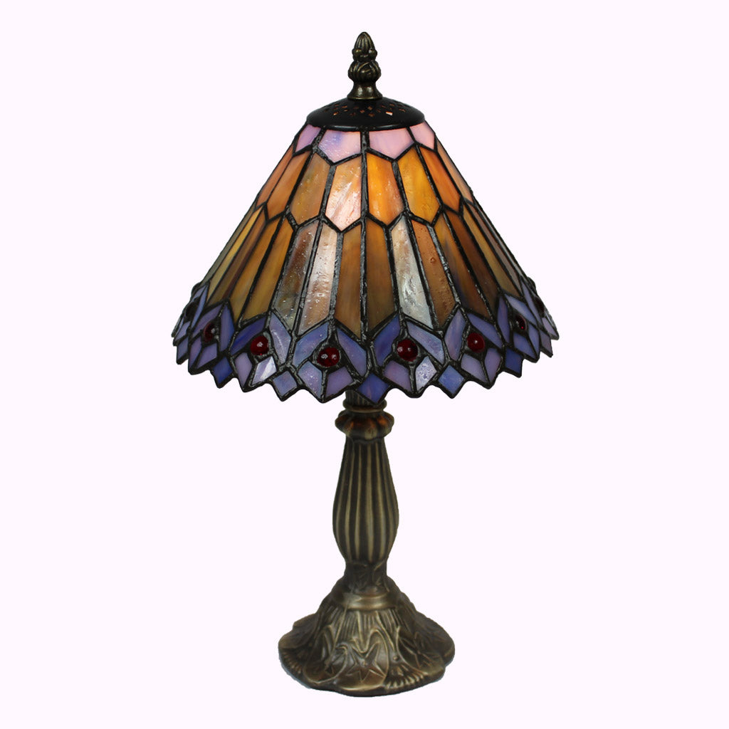 Jeweled Peacock Tiffany Table Lamp-small