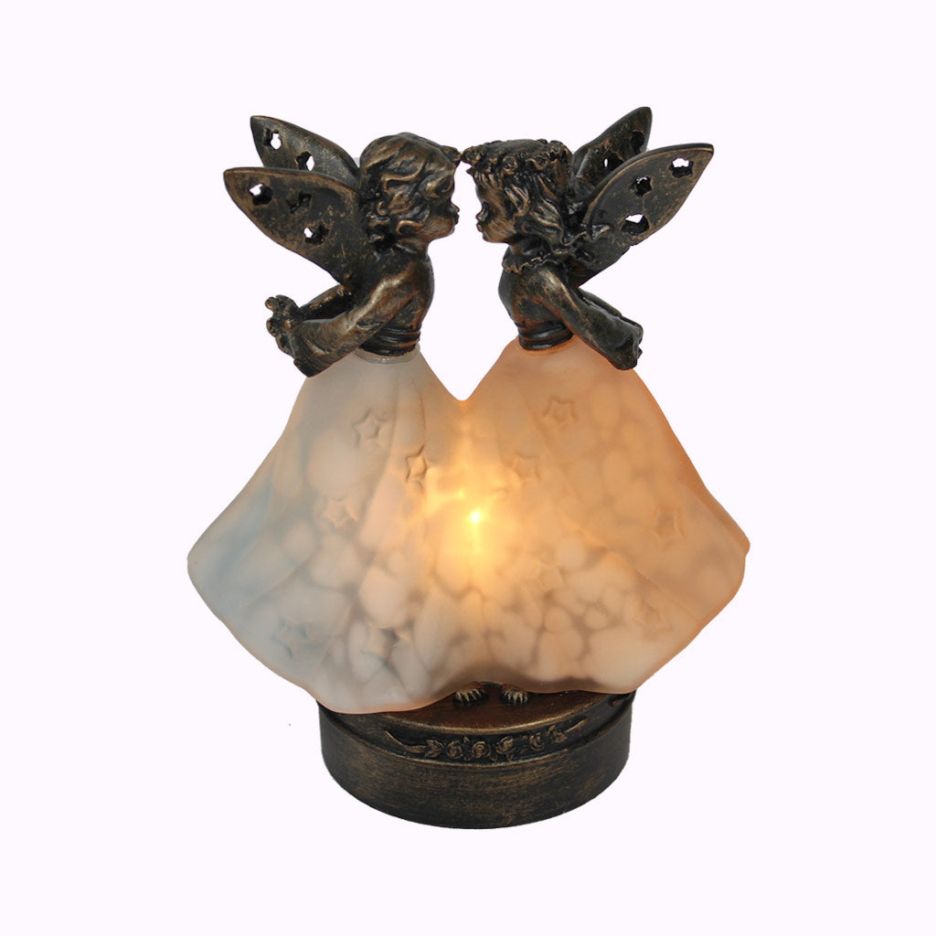 Kissing Angels Sculptured Bronze Lamp