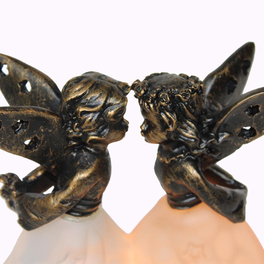 Kissing Angels Sculptured Bronze Lamp from Memory Lane Lamps