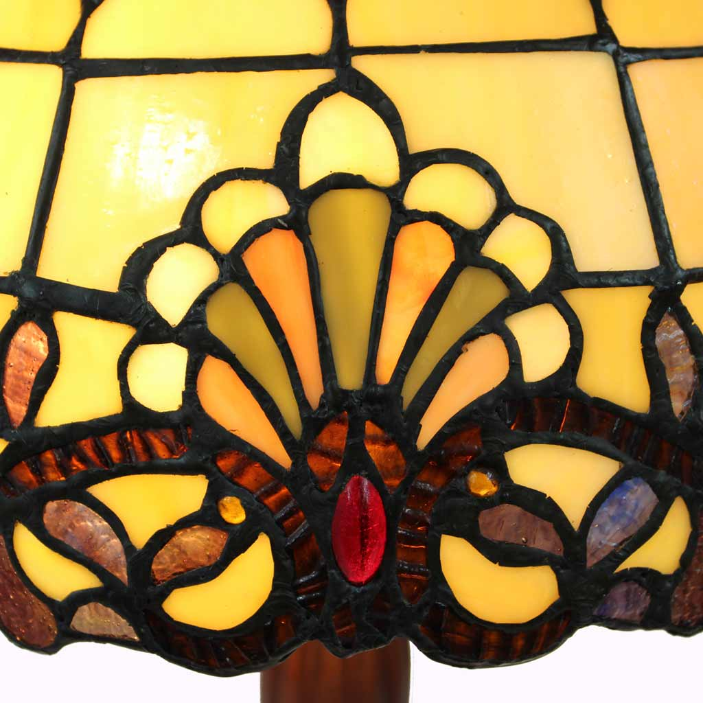 Large Amber Baroque Tiffany Table Lamp