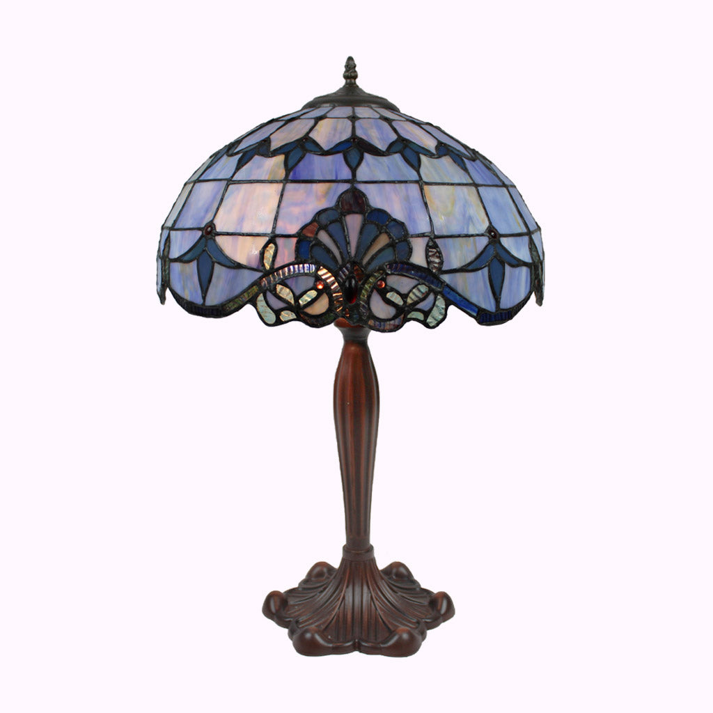 Large Blue Baroque Tiffany Table Lamp