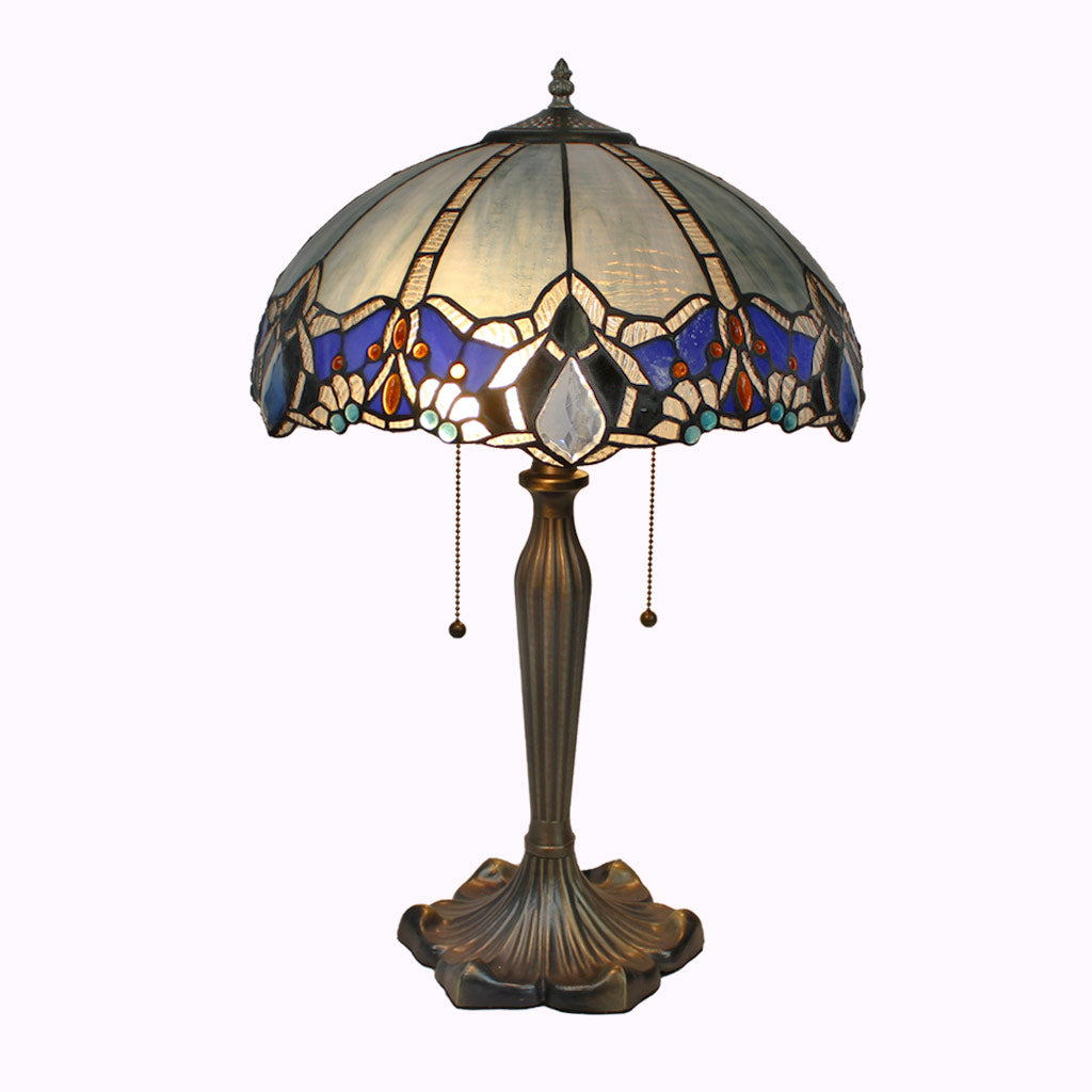 Large Blue Diamond Tiffany Table Lamp