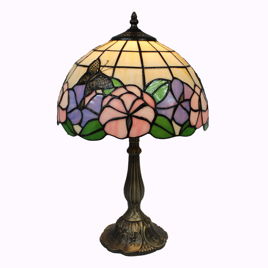 Large Butterflies and Pansies Tiffany Table Lamp