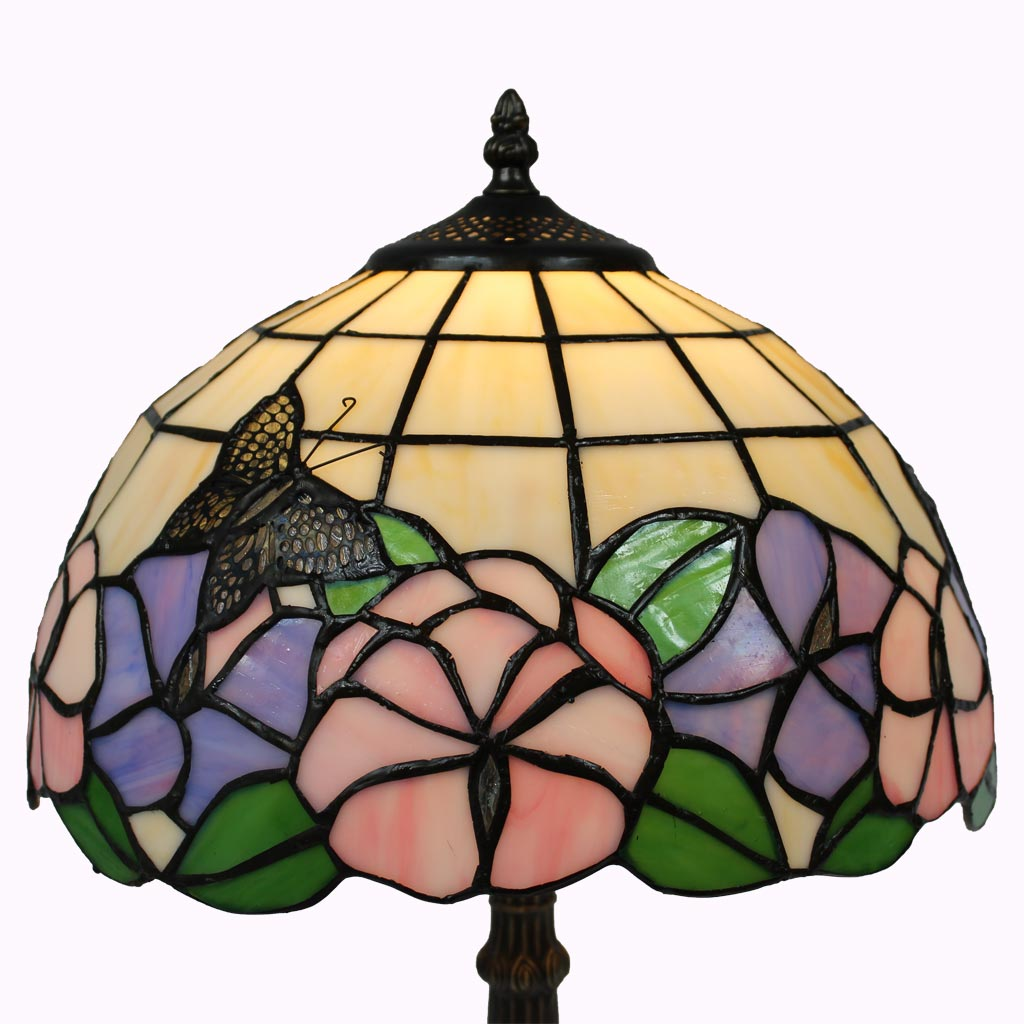 Butterflies and Pansies Tiffany Table Lamp