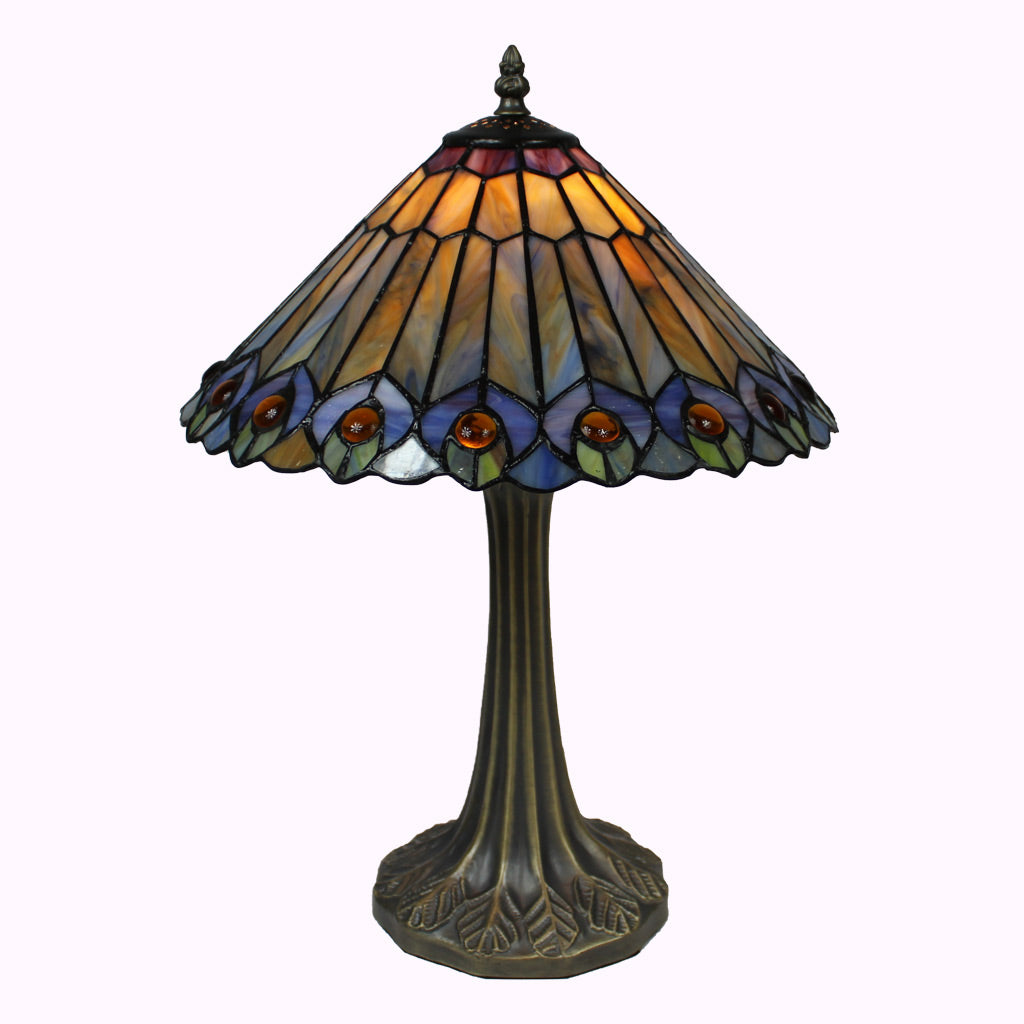 Large Jeweled Peacock Tiffany Table Lamp