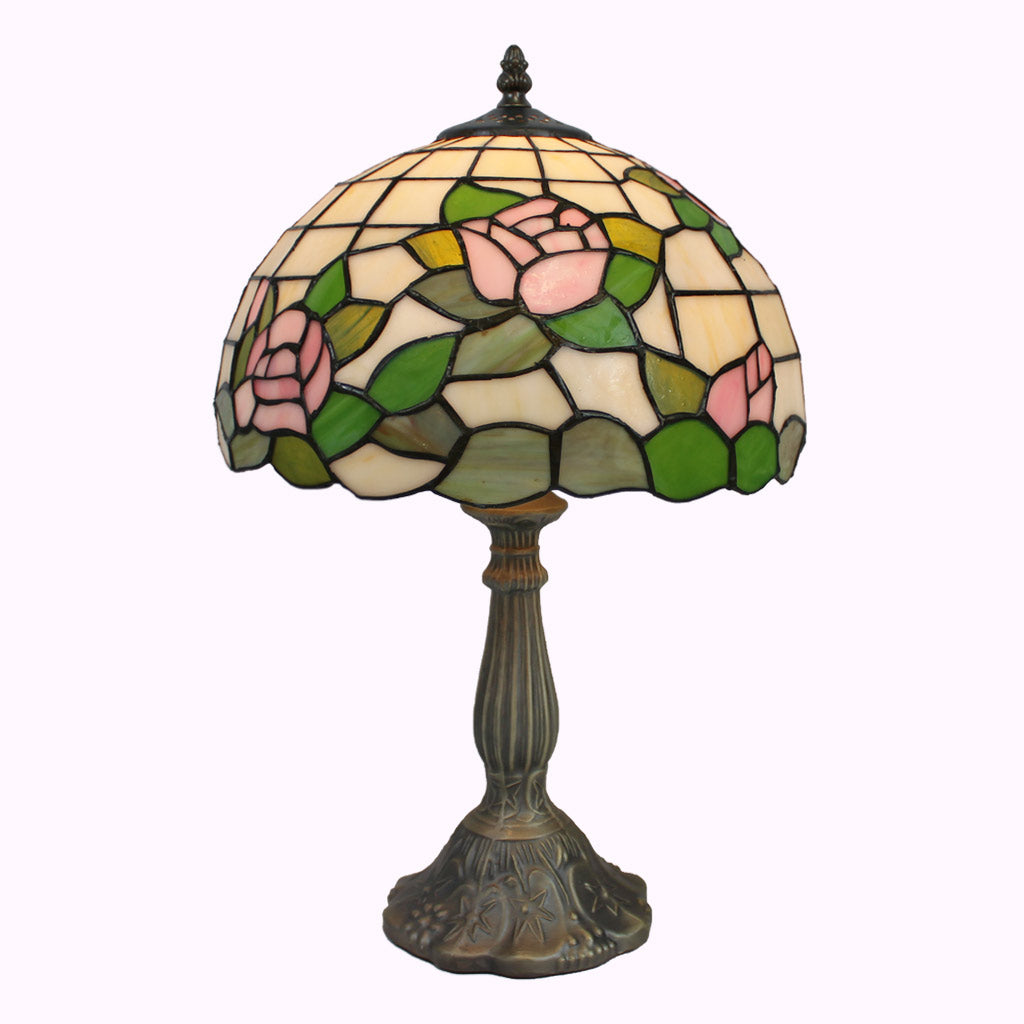 Lovely Pink Roses Tiffany Table Lamp from Memory Lane Lamps