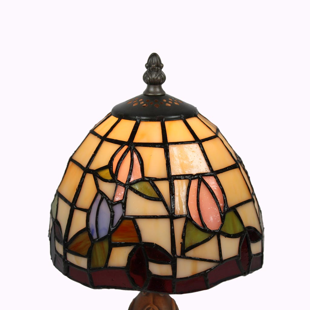 Pink and Blue Tulips Tiffany Accent Lamp