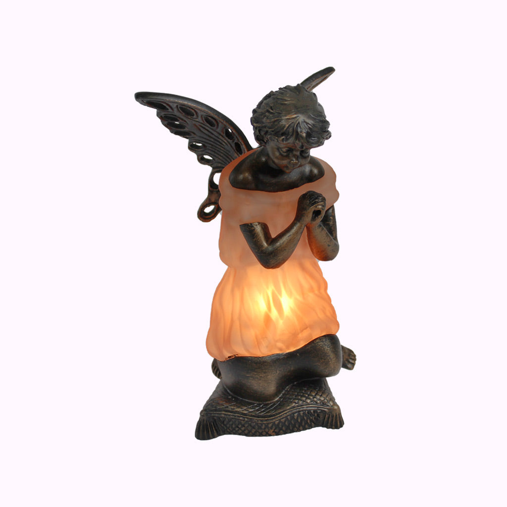 Pink Praying Angel Sculptured Bronze Lamp
