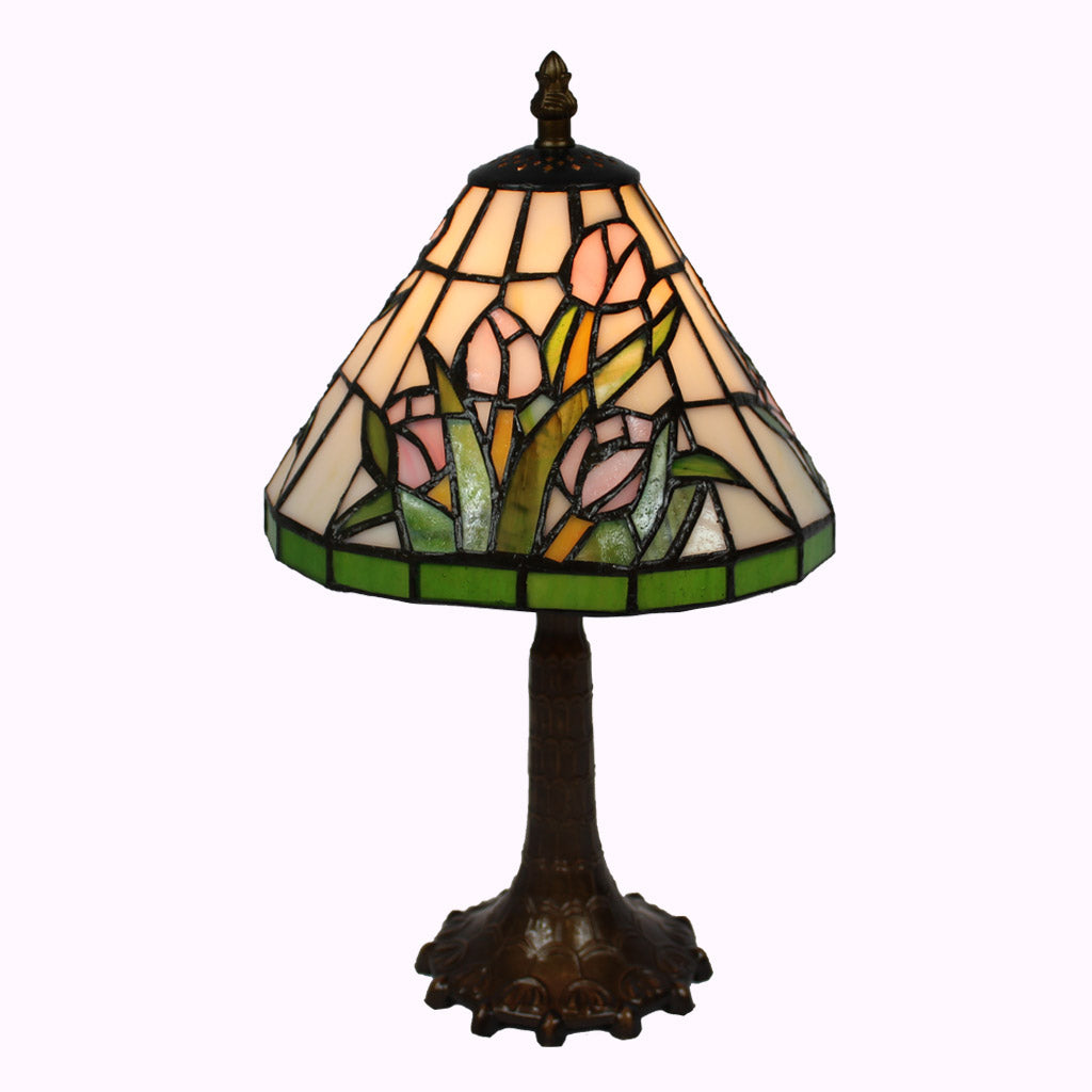 Pink Tulip Bouquet Tiffany Accent Lamp
