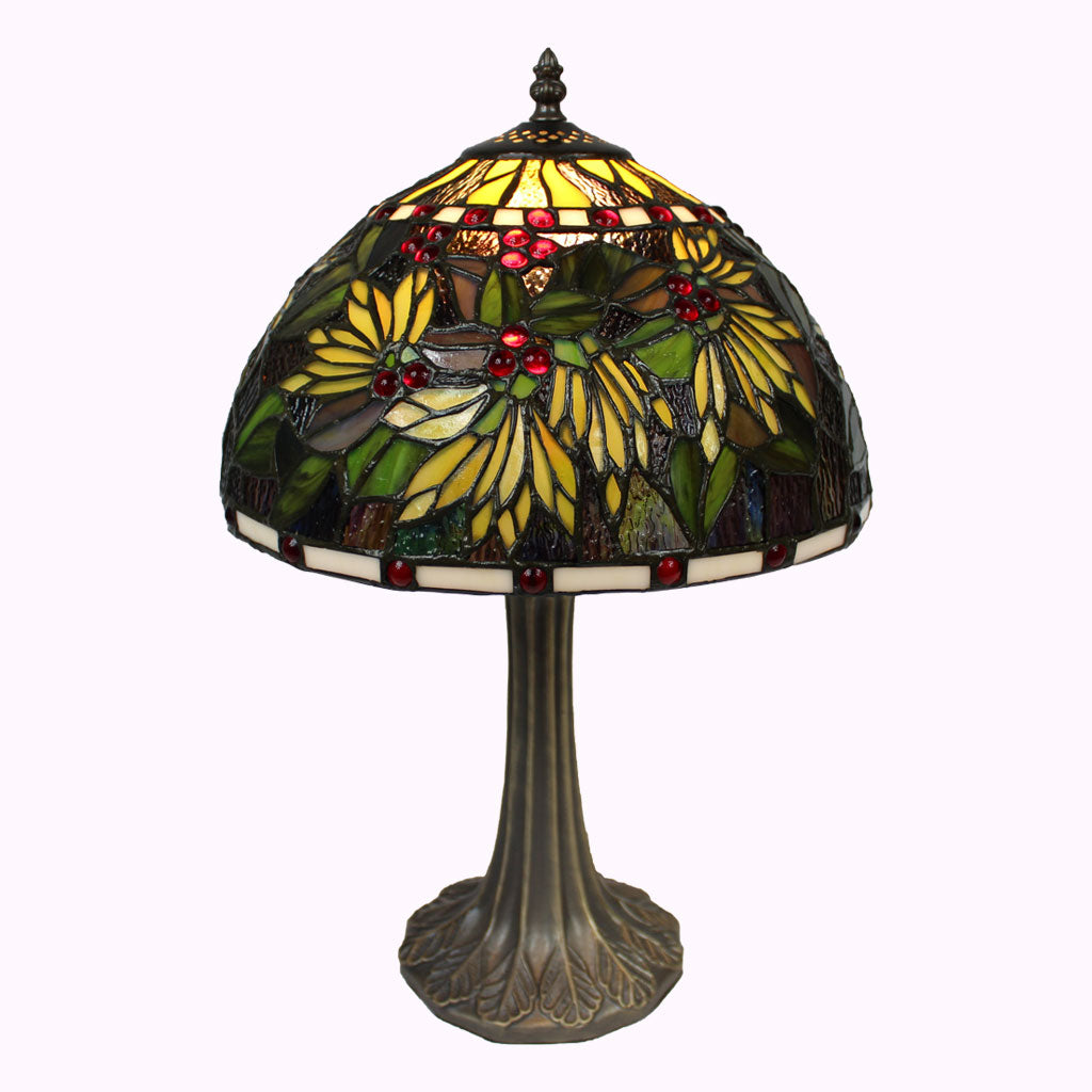 Red Berry Bushes Tiffany Table Lamp
