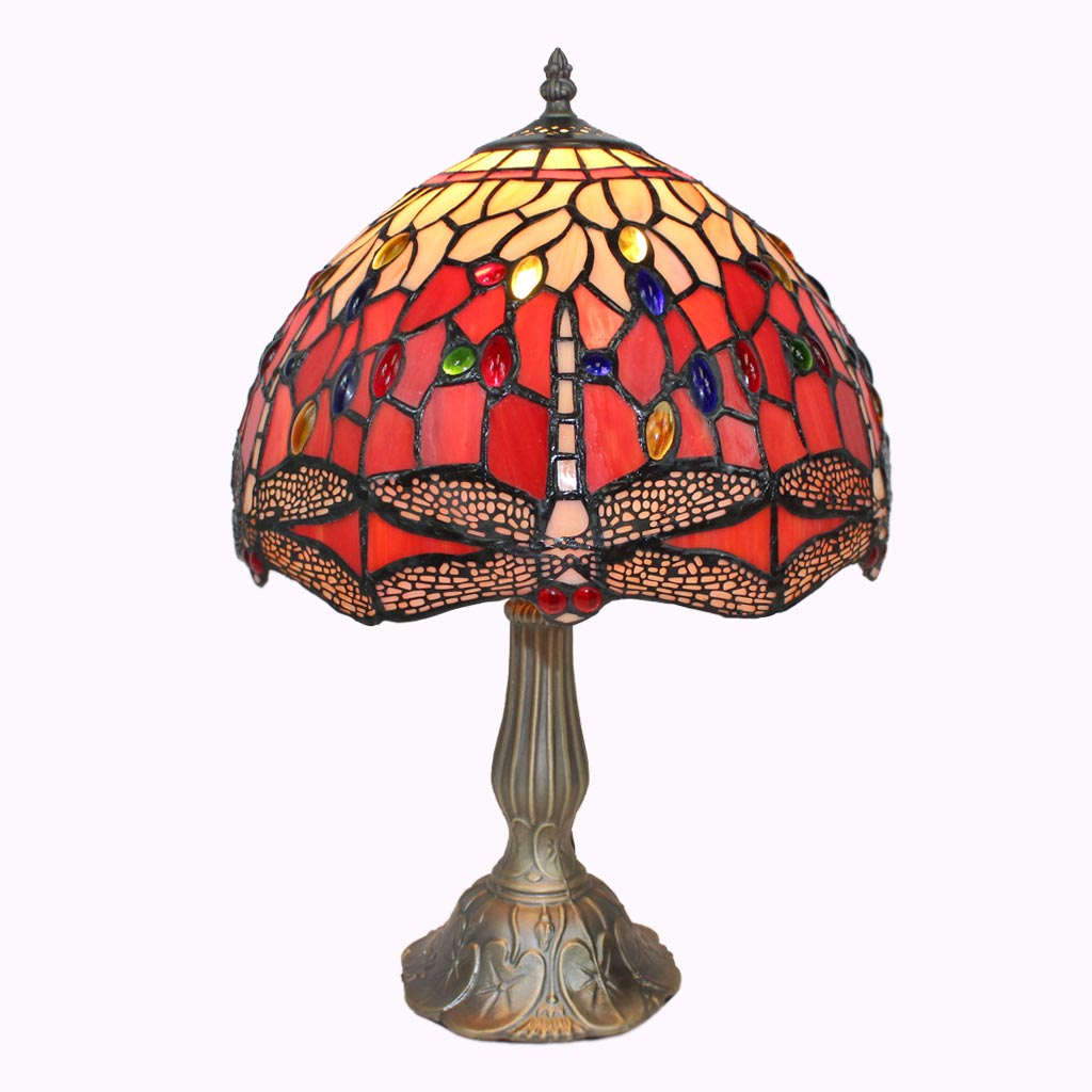 Red Dragonflies Tiffany Table Lamp